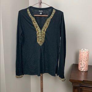 Lucky Brand Cotton Tunic w/ Bead Embellishments